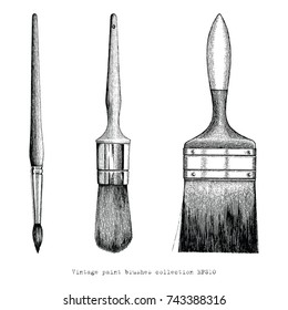 Vintage paint brushes collection hand drawing