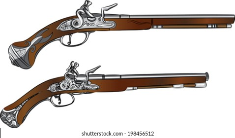 vintage pair of flintlock pistols