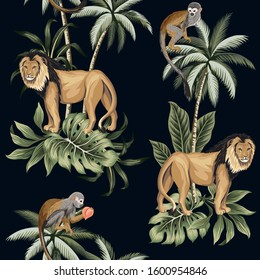 Vintage palm tree, lion, monkey animal floral seamless pattern dark background. Exotic tropical wallpaper.