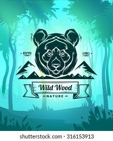 Vintage panda labels. Retro vector design graphic element,  for your design or poster. Wood background. Hunter woods background.