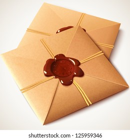 Vintage paper envelope with sealing wax stamp