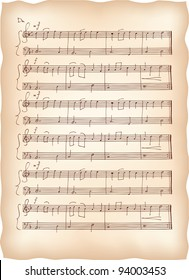 Vintage paper with handmade musical notes. Vector background.