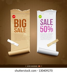 Vintage paper roll ripped brown paper and white paper for business design, vector illustration