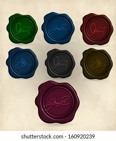 Vintage paper with set of  sealing wax stamp . Vector eps10.