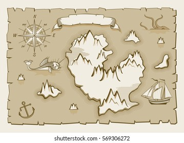 Vintage parchment vector map elements. Illustration of pirate old map.