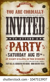 Vintage Party Invitation Background/ Illustration of a vintage old western placard poster, with invitation text and decoration elements, grunge textures and scratched effects