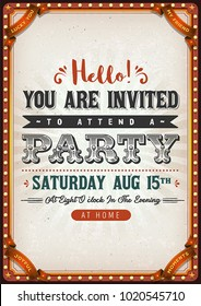 Vintage Party Invitation Card/ Illustration of a birthday party invitation vintage card, with textured background and circus like elements