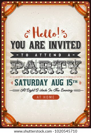 Vintage Party Invitation Card Illustration Of A Birthday With Textured