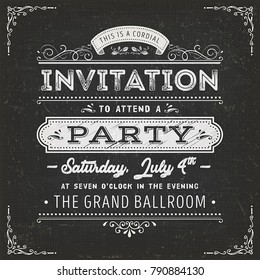 Vintage Party Invitation Card On Chalkboard/ Illustration of a vintage fabric textured poster with invitation message to a party, with floral patterns and hand-drawned corners on chalkboard background