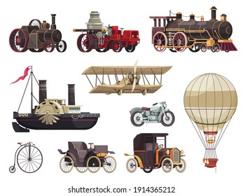 Vintage passenger transport set with isolated icons of steam locomotives images of aerostats cars and steamboat vector illustration