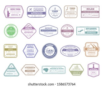 Vintage passport stamp. Airport cachet mark, passport visa international arrived stamps. USA, UK, France, Italy, Japan and Spain air border stamp frames vector isolated set. Travel airport signs