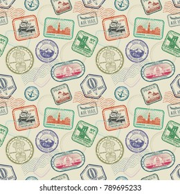 Vintage passport travel stamps vector seamless pattern. Colored stamp to passport pattern illustration