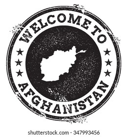 Vintage passport welcome stamp with Afghanistan map. Grunge rubber stamp with Welcome to Afghanistan text, vector illustration