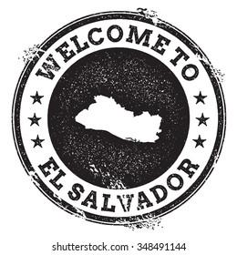 Vintage passport welcome stamp with El Salvador map. Grunge rubber stamp with Welcome to El Salvador text, vector illustration