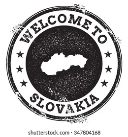 Vintage passport welcome stamp with Slovakia map. Grunge rubber stamp with Welcome to Slovakia text, vector illustration