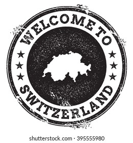 Vintage passport welcome stamp with Switzerland map. Grunge rubber stamp with Welcome to Switzerland text, vector illustration.
