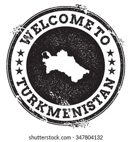 Vintage passport welcome stamp with Turkmenistan map. Grunge rubber stamp with Welcome to Turkmenistan text, vector illustration