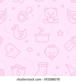 Vintage pastel color seamless baby pattern. Baby line icons illustration background.