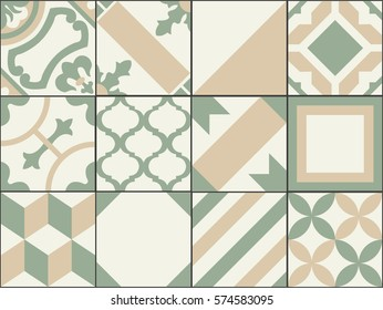 vintage patchwork tiles. Old style tiles for wall and floor. Geometrical seamless decor