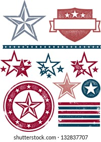 Vintage Patriotic Stars and Stripes Design Elements