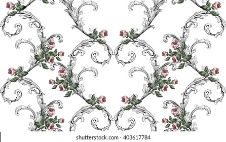 Vintage pattern in baroque style with small flowers and swirls on white