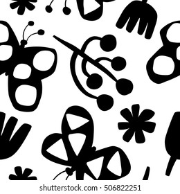 Vintage pattern with butterflies. Seamless vector
