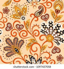 Vintage pattern in indian batik style. Floral hand draw vector background. Orange colors.