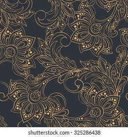 vintage pattern in indian batik style. floral vector background