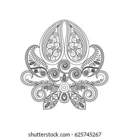 Vintage pattern of indian style isolated on white backdrop.