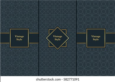 Vintage pattern on black background. Seamless pattern with golden frame for design in retro style. Universal pattern for wallpapers, textiles, fabrics, wrapping papers, packaging boxes etc.