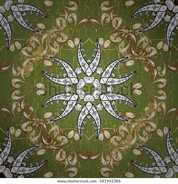 Vintage pattern on green background with golden elements and with white doodles. Christmas, snowflake, new year.