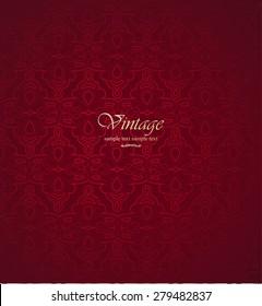 Vintage patterns on burgundy background.
