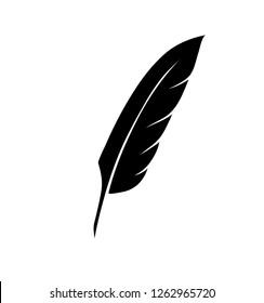 vintage pen feather writer symbol, literature icon, diary sign, black illustration,