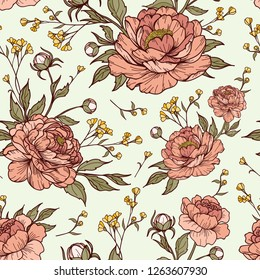 Vintage peony flower with buds and leaves with small flower in blue background. Cartoonish style. Vector illustration. Perfect for print, textile, cards and apparel.
