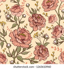 Vintage peony flower with buds and leaves in flourish style, with small flowers. Cartoonish style. Vector illustration. Perfect for print, textile, cards and apparel.