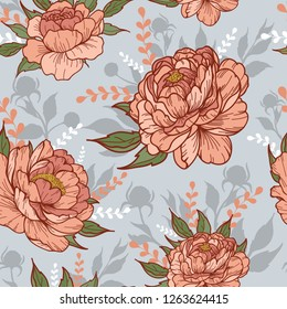 Vintage peony flower with buds and leaves in blue background with silhouettes. Cartoonish style. Vector illustration. Perfect for print, textile, cards and apparel.