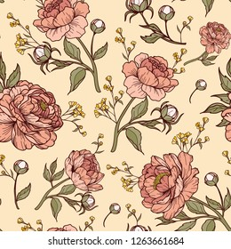 Vintage peony flower with buds, leaves and small flowers. Cartoonish style. Vector illustration. Perfect for print, textile, cards and apparel.