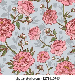 Vintage peony flower pink in blue and silhouette background with buds and leaves. Cartoonish style. Flourish style. Vector illustration. Perfect for print, textile, cards and apparel.