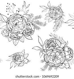 Vintage Peony Vector Pattern