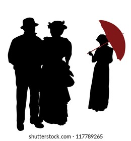 Vintage people silhouettes on white background, vector illustration