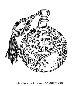 Vintage perfume bottle with spray. Sketch Engraving style. Vector illustration.