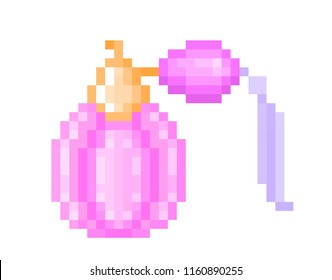 Vintage perfume in a pink glass bottle with tassel, pixel art illustration isolated on white. Beauty product, body spray. Eau de toilette, eau de cologne symbol. Cosmetics shop, fragrance store logo.