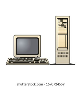 Vintage personal computer with keyboard and mouse isolated on white. Vector illustration in EPS10