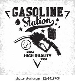 Vintage Petrol station logo design, emblem of gasoline station, Gas or diesel filling station typographyv emblem, print stamps with easy removable grange, Vector