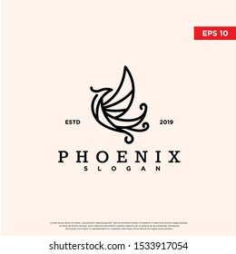 vintage phoenix logo. using monoline style. original icon, template design