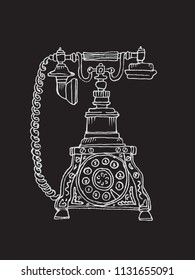 Vintage Phone. Chalk drawing Telephone with handset, receiver and rotary dial. Vector ancient telephone.