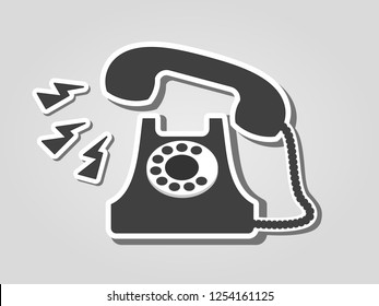 Vintage phone ringing on the gray background. Call us, contact us, urgent, help, concept. Vector illustration, flat sticker style