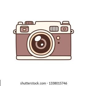 Vintage photo camera, hand drawn vector illustration. Retro style film camera drawing.