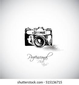 vintage photo camera icon, retro concept