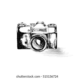 vintage photo camera icon, retro concept